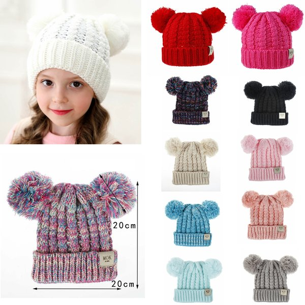 best selling 12Styles Double Fur Ball Hats Baby Girls Knit Cap Kid Crochet Pom Pom Beanies Hat Children Knit Outdoor Caps Kids Accessories gift FFA2860