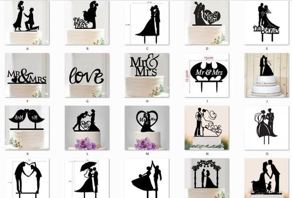 Gâteau Chaud Topper De Mariage M. Mme Amour Acrylique Noir Toppers Romantique Mariée Marié Pour La Décoration De Mariage Mariage Party Favors