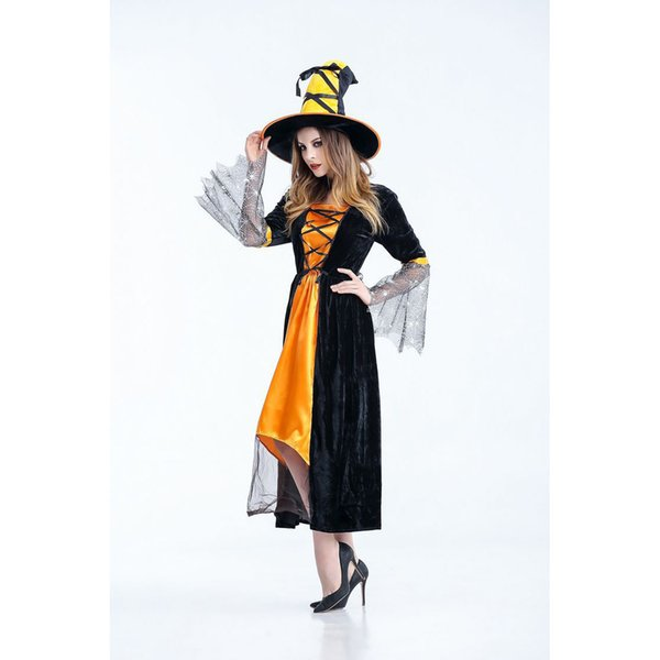 Costumes mulheres Designer Bruxa Horror Vestuário Halloween Cosplay Witch Cosplay fase Pack Nightclub Tema do partido do traje Mulheres Roupa