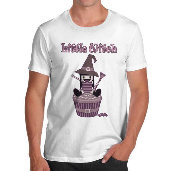 Twisted Envy Herren Little Witch Funny Baumwolle T-Shirt Jacke Kroatien Leder T-Shirt