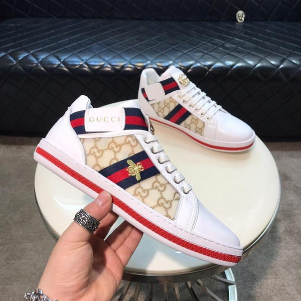 2018 NEW [With Box]Quality ACE embroidered white dragon Gift Sneaker Genuine Leather Designer shoes Luxury Mens Women Casual Shoes