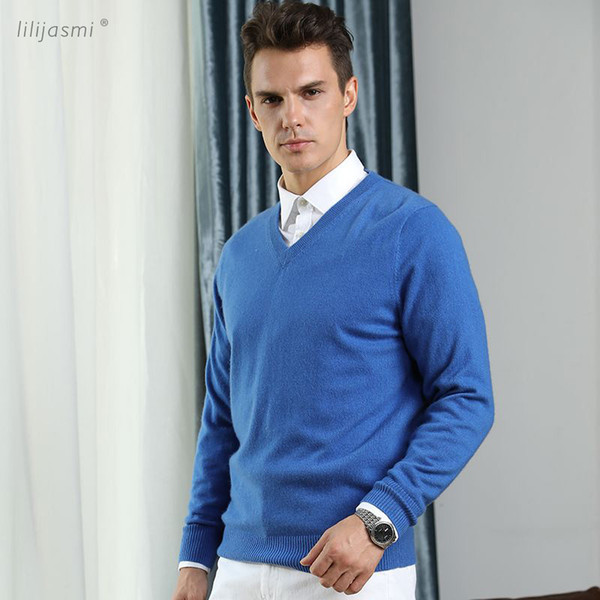 HOT! Basic Clothing Men's 100% Cashmere Knitted Sweater V-neck Solid Color Men Pullovers Male Flat-knit Autumn Winter