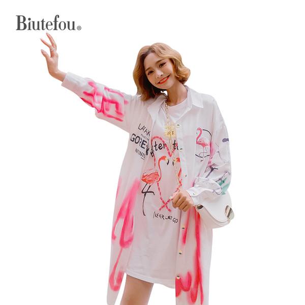 2019 Primavera casacos finos cartoon flamingo imprimir casacos longos mulheres soltas