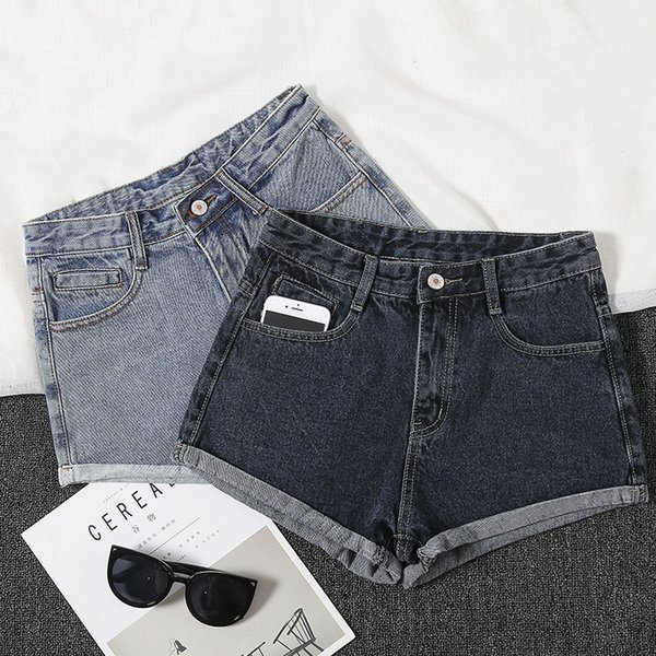 2019 women clothing high waist cuffs solid relaxed washed pure cotton short jeans Female casual loose straight denim shorts