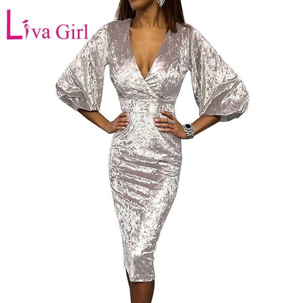 LIVA GIRL Splendido Sexy scollo a V in velluto aderente Midi Dress Elegante donna a tre quarti maniche a campana Slim abiti da festa Vestidos