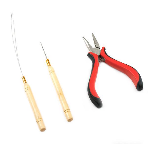 США Stock Neitsi 3 шт. Комплект для наращивания волос и перьев Micro Ring Link: плоскогубцы, иглы для микро-вытягивания и петлевой нож
