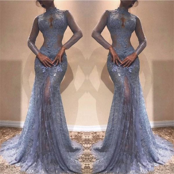 Gorgeous Zuhair Murad Full Lace Prom Dresses 2019 High Neck Mermaid Illusion Long Sleeves See Through Evening Gowns Lavender Party Dress