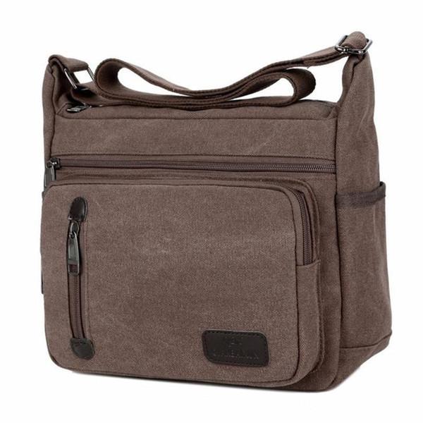 Carry Bag High Quality Men Canvas Shoulder Bag Casual Travel Mens Crossbody Male Messenger Bags 17.5