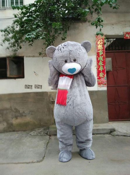 Lovely Gray Teddy Bear Mascot Costume Fancy Birthday Party Dress Halloween Carnivals Costumes With High Quality For Adult