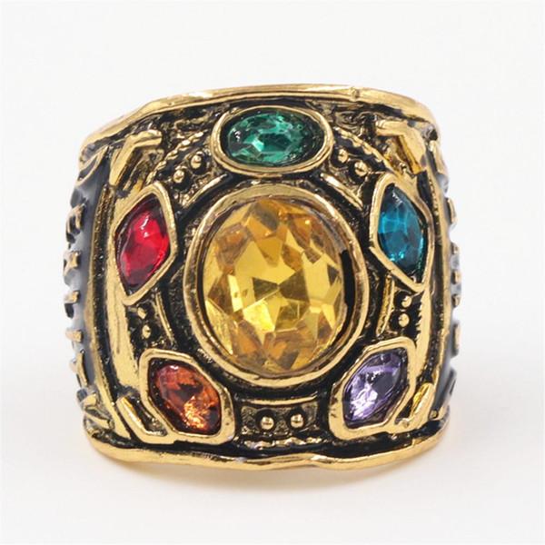 Punk maravilha The Thanos anéis para homens strass cor de ouro anel de jóias por atacado