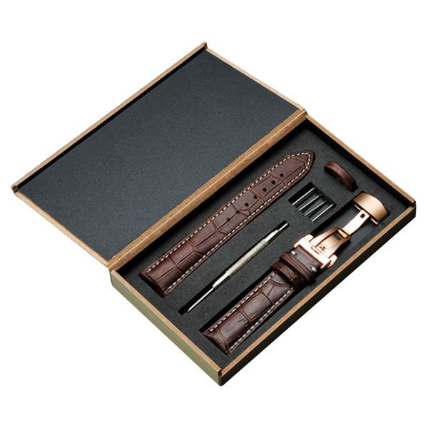 Bracelets en cuir véritable 18mm 19mm 20m 21mm 22mm 23mm 24mm acier papillon boucle bracelet montre bande poignet ceinture bracelet