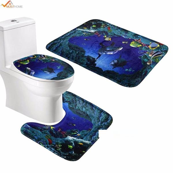 3шт набор Ванная Non-Slip Пьедестал Коврик + Lid Туалет Обложка + Коврик для ванной Подводный мир Спальня Кухня кровать Автокресло диван коврик коврик