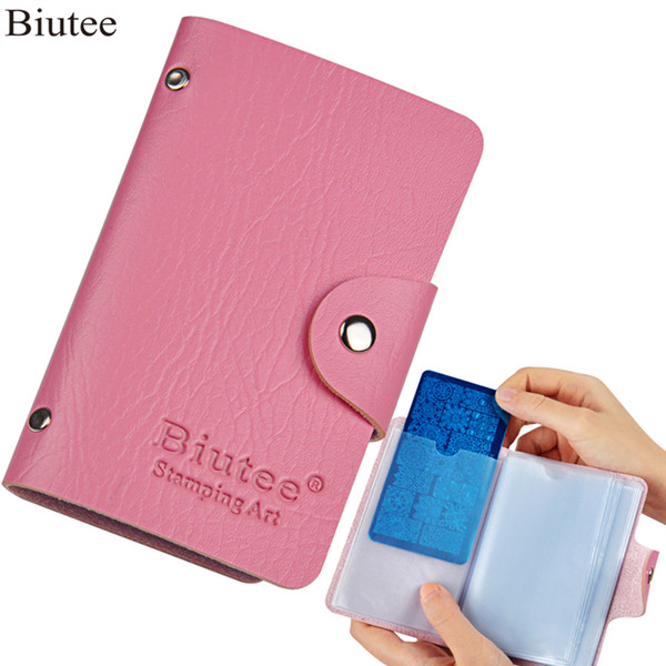 Nail Art Tools Templates Biutee 24 Slots Nail Art Stamp Plate Stamping Plates Holder Storage Bag Durable PU Leather Cases Stamp