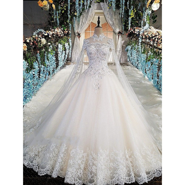 Luxury Lace Ball Gown Wedding Dresses High Neck Beaded Long Sleeves Bridal Gowns Sequined Tulle Cathedral Train Appliqued robes de mariée