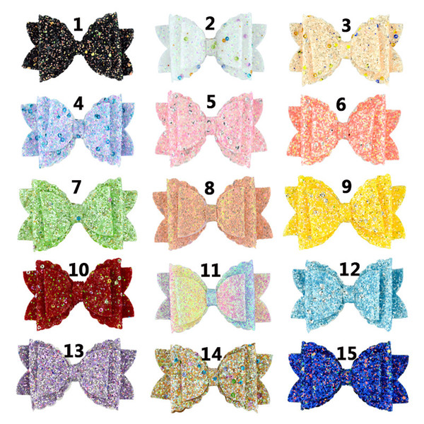 30pcs / lot 9x5.5cm children's new double sequin glitter wave leather handmade bow hair clip hair accessories
