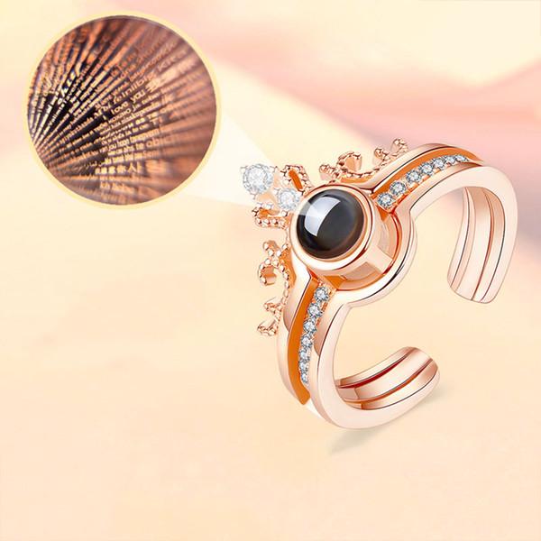 Kuniu diy 100 sprache ich liebe dich projektion ring paare ringe liebhaber frauen krone kristall hochzeit engagement königin könig schmuck