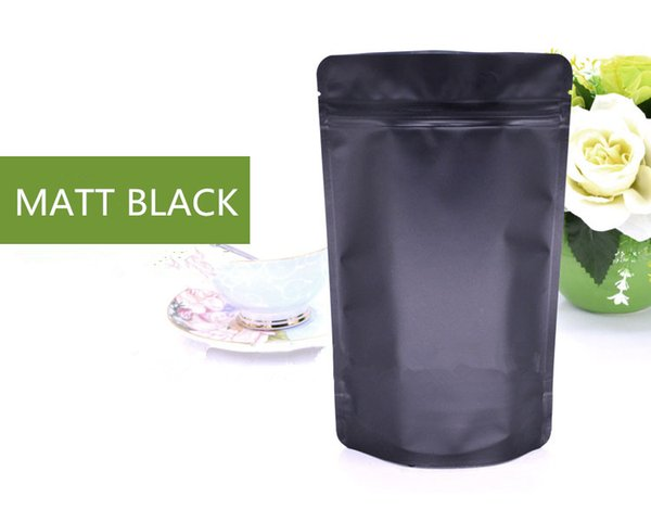 50pcs 15x23x4cm Matt Black Stand up Aluminum Foil Ziplock Bag Snack Cookie Tea Coffee Packaging Bag Doypack Black Foil Zipper Pouches