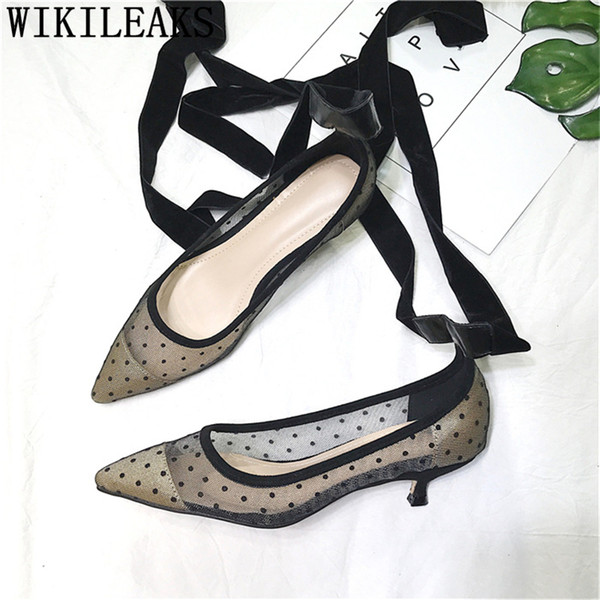 party shoes lace up heels fetish high heels sexy black pumps women shoes kitten dress women pointed toe high