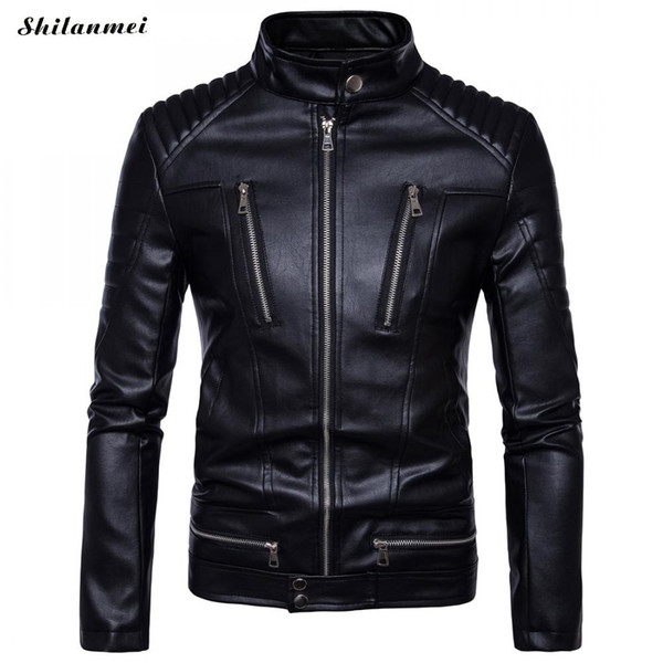 Newest British Motorcycle Leather Jacket Men Classic Design Multi-Zippers Biker Jackets Male Bomber Leather Jackets Coats