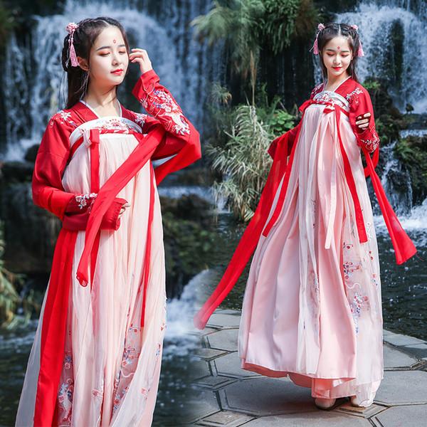 Nova Hanfu Vestido Vermelho Mulheres Saia Bordada Chinesa Tradicional Chinês Roupas Antigas Dança Folk Saia DQL342