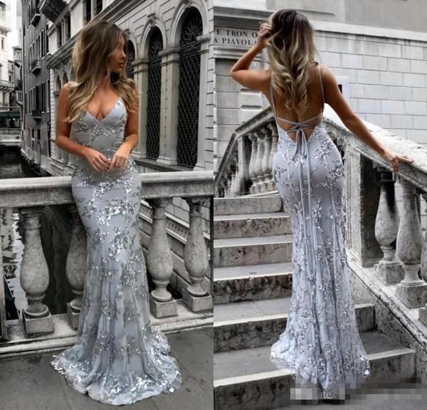 2019 Mermaid Örgün Elbise Akşam Aşınma Gümüş Sequins Dantel-Up Aç Backless Uzun Gelinlik Modelleri Şık Seksi Parti Kıyafeti Tül Abiye