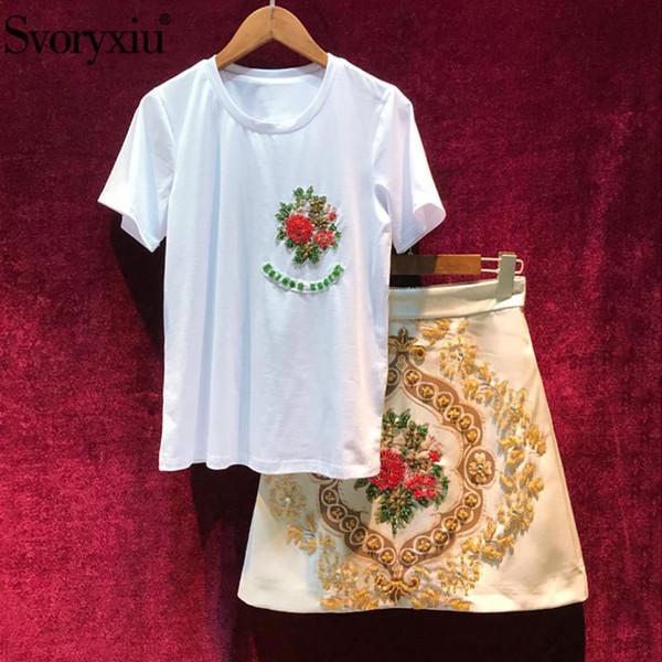 Svoryxiu Yaz Pist kadın Etek Takım Elbise Lüks Boncuk Pamuk T-shirt + Barok Baskı Etek Eğlence 2-piece Set Kadınlar