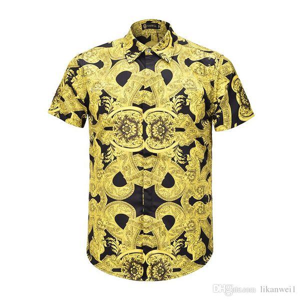 2019 новинка тонкая рубашка светло-желтого цвета с принтом повседневная мужская рубашка Medusa покрытая пуговицами летняя мужская рубашка с короткими рукавами M-XXL