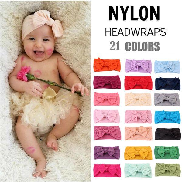 best selling Baby Girls wide Bow Headbands Children Soft elastic Bowknot Hairbands Kids Hair Accessories Hair band Princess Headdress 21 Colors KHA684