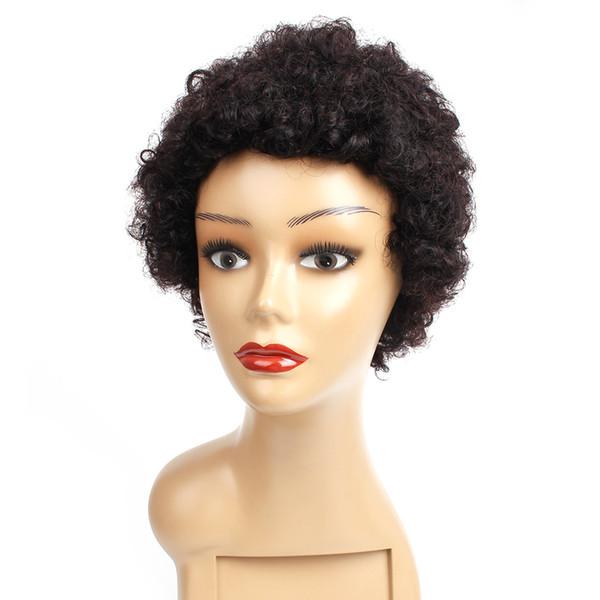 Kurze lockige Echthaarperücken 8 Zoll natürliche Farbe capless Perücken brasilianisches reines Haar billig remy Echthaarperücken 100g / Stück
