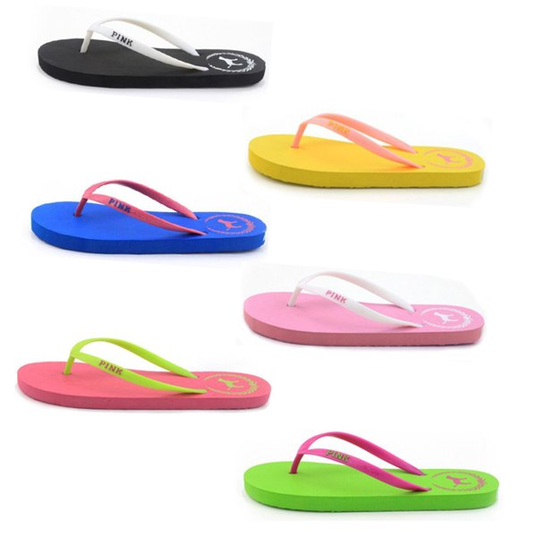 free shipping Girls love Pink Sandals Candy Colors Pink Letter Slippers Shoes Summer Beach Bathroom Casual Rubber Slides Flip Flop Sandals