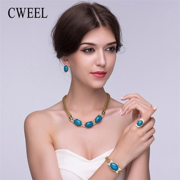 CWEEL Set di gioielli per donna alla moda Set di gioielli di perle africane Catena Dubai Gioielli etnici da sposa turchi etiopi