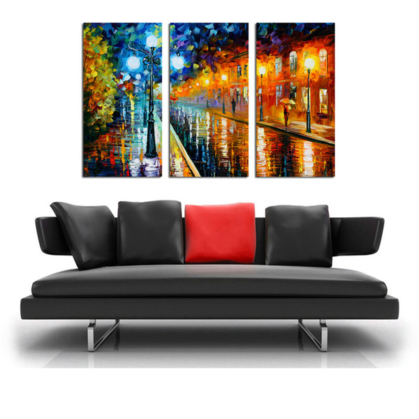 3 Panels Oil Painting HD Print Leonid Afremov Abstract Street Night Lamp On Canvas Modern Decoration Wall Art Without Framed / With framed