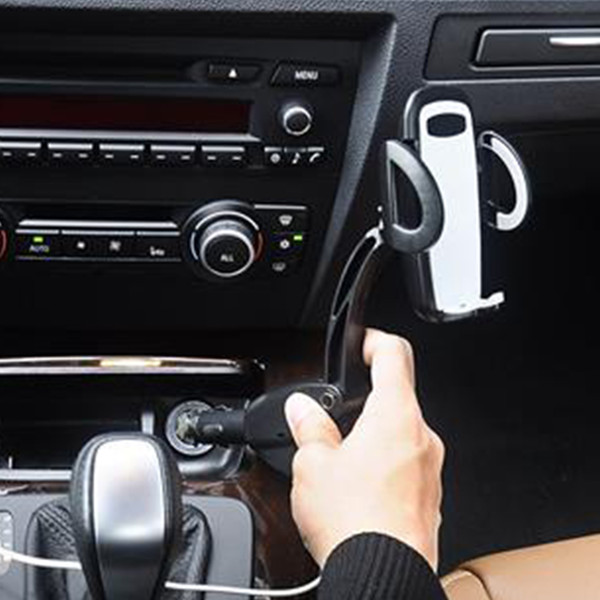 Dual USB Car Charger Holder Mount With Cigarette Lighter Chargers for Cell Phone Holder #22