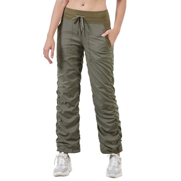 Pantalons sport femmes automne et hiver nouvelle ligne droite facile des deux côtés drapés corde fitness pantalon décontracté Yoga en cours d'exécution # 103857