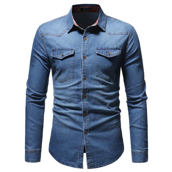 Erkekler Için Denim Gömlek Uzun Kollu Adam Tops Bahar Giyim Turn-down Yaka Genç Erkek Streetwear Gömlek Çift Cepler Kulübü Ince Blusa