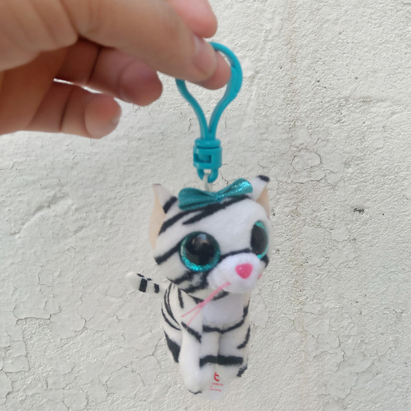 """Ty Beanie Boos 4"""" 10cm Cat Keychain Clip Stuffed Plush Collectible Big Eyes Doll Toys For Children"""