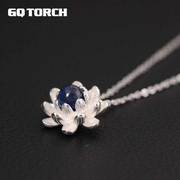 original design 925 sterling silver necklaces & pendants china wind with natural pearl lapis lazuli stone for women