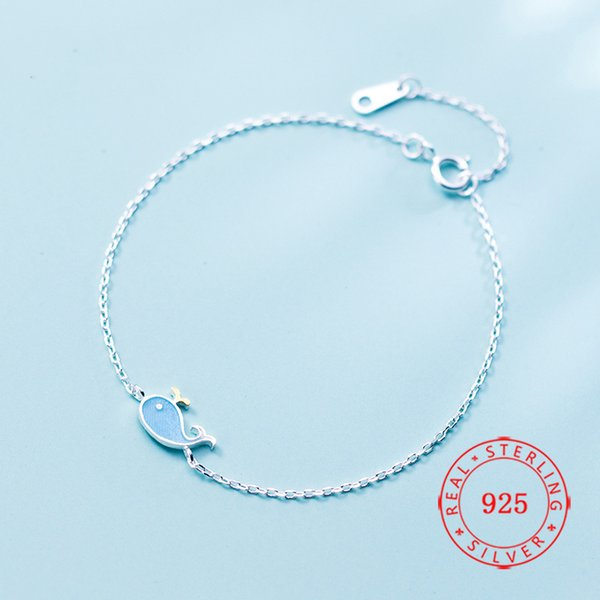 Wholesale custom see animal jewelry romantic 925 Sterling Silver Sparkling Cute Whale Dolphin Fish Chain Bracelet