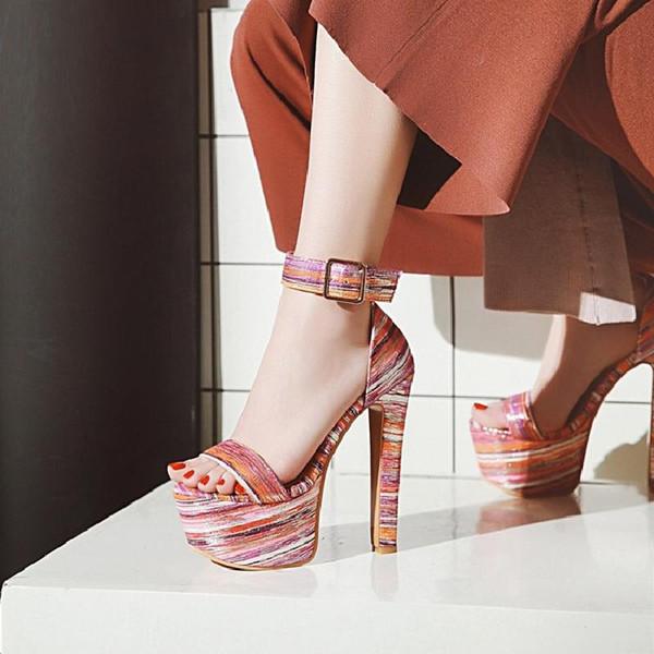 Modello di spettacolo teatrale discoteca di spessore con tacchi altissimi 16cm open toe sandali rosa blu impermeabile piattaforma donne scarpe