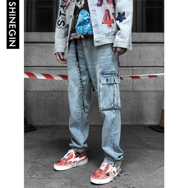 SHINEGIN Multi-pocket Streetwear Hip hop Casual Jeans Men Washed Straight Fit Denim Pants Baggy Cargo Pants Overalls Jeans 246W