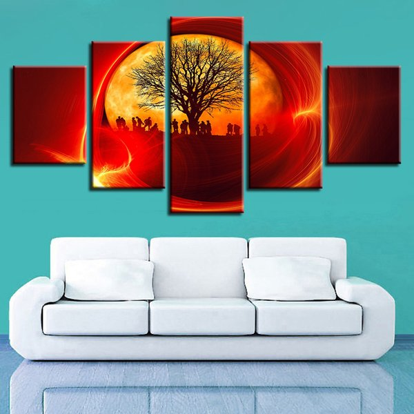 Modular Wall Art 5 Pieces Tree And Soldier Red Sun Canvas Painting Abstract Landscape Pictures HD Printing For Living Room Decor