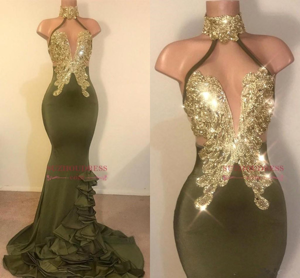 2019 Real Photos Halter Satin Long Mermaid Prom Dresses Black Girls Lace Applique Beaded Layered Ruffles Sweep Train Evening Gowns