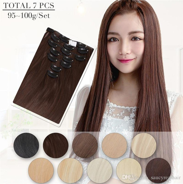 """Grade 7A --70g 100g 120g 140g 160g Full Head Silky Straight Remy Clip in Human hair extension Black Brown Blonde optional 14"""" - 26"""","""