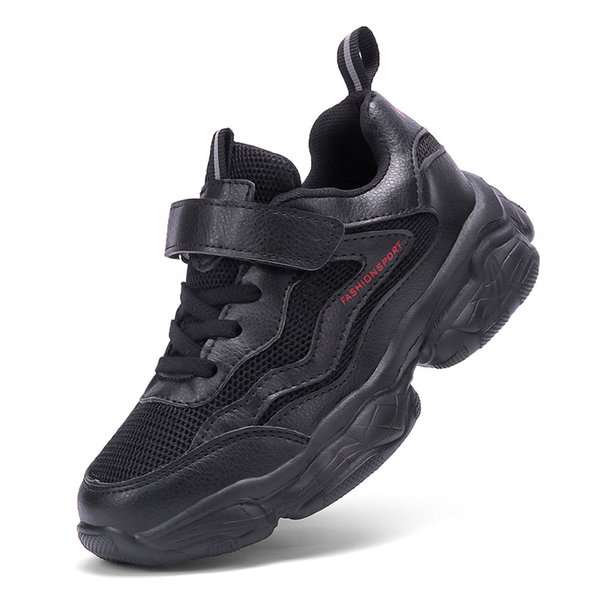 2019 New Styles Kids Sport Shoes Running Shoes for Boys Girls Sneakers Children's Mesh Breathable Black White Red Color