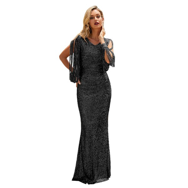 Sequins Gold Dress 2019 Summer Women Sexy long Dress Evening Party Elegant Club Dresses SY610992 New dresses, party dresses, breech dresses, sequined dresses, sexy dresses, four-color options, slim dresses, evening dresses