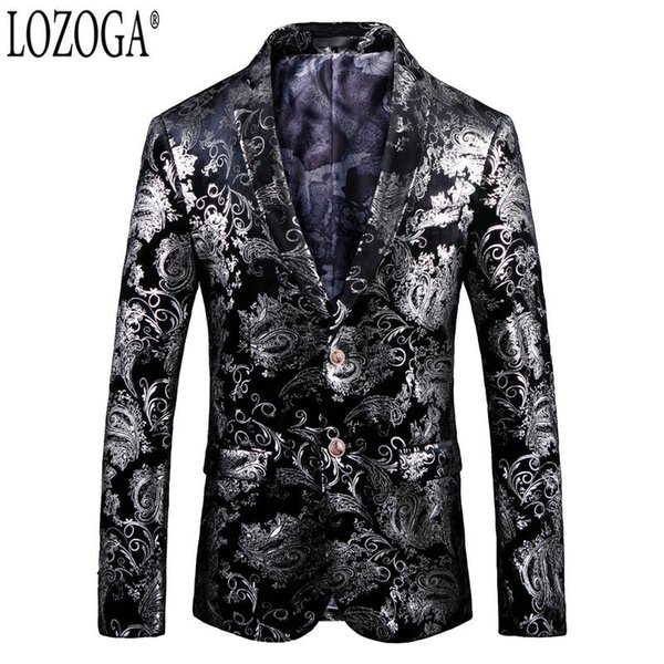 Lozoga Blazer Men  Designs Mens Blazers Fashion Slim Fit Suit Jackets Velvet Party Wedding Stage Prom Toastmaster For Man