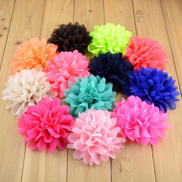 50pcs/lot 31 Colors U Pick Fashion 4'' Big Chiffon Fabric Flowers For Girl Headband Hair Accessories Free Shipping Fh03 J190507