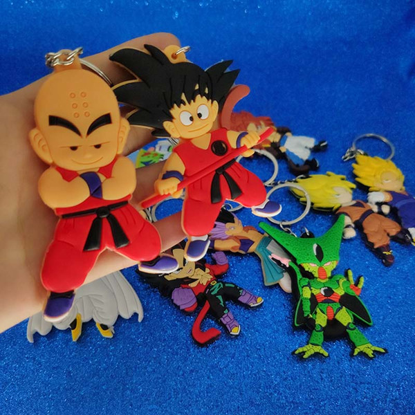 Japão Anime Dragon Ball Chaveiro De Plástico Dragon Ball Figura Chaveiro Chaveiro Bag Pendura Fahsion Jóias navio da gota Will e Sandy