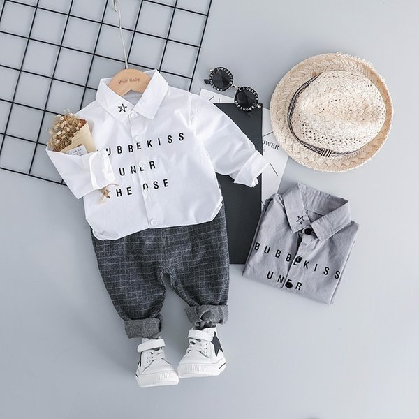 2019 Spring Baby Boys Clothing Children Clothes Suits Leisure Gentleman Style Shirt Pants 2Pcs/Sets Kids Toddler Infant Costume