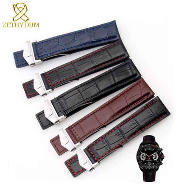 Bracelet en cuir véritable 19mm 20 mm 22m Accessoires bande Bracelet en montres-bracelets mens montre bracelet en cuir boucle de ceinture pli